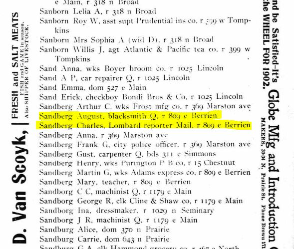 "August & Charles (i.e., Carl) ""Sandberg"" entries from the 1902 Galesburg City Directory"