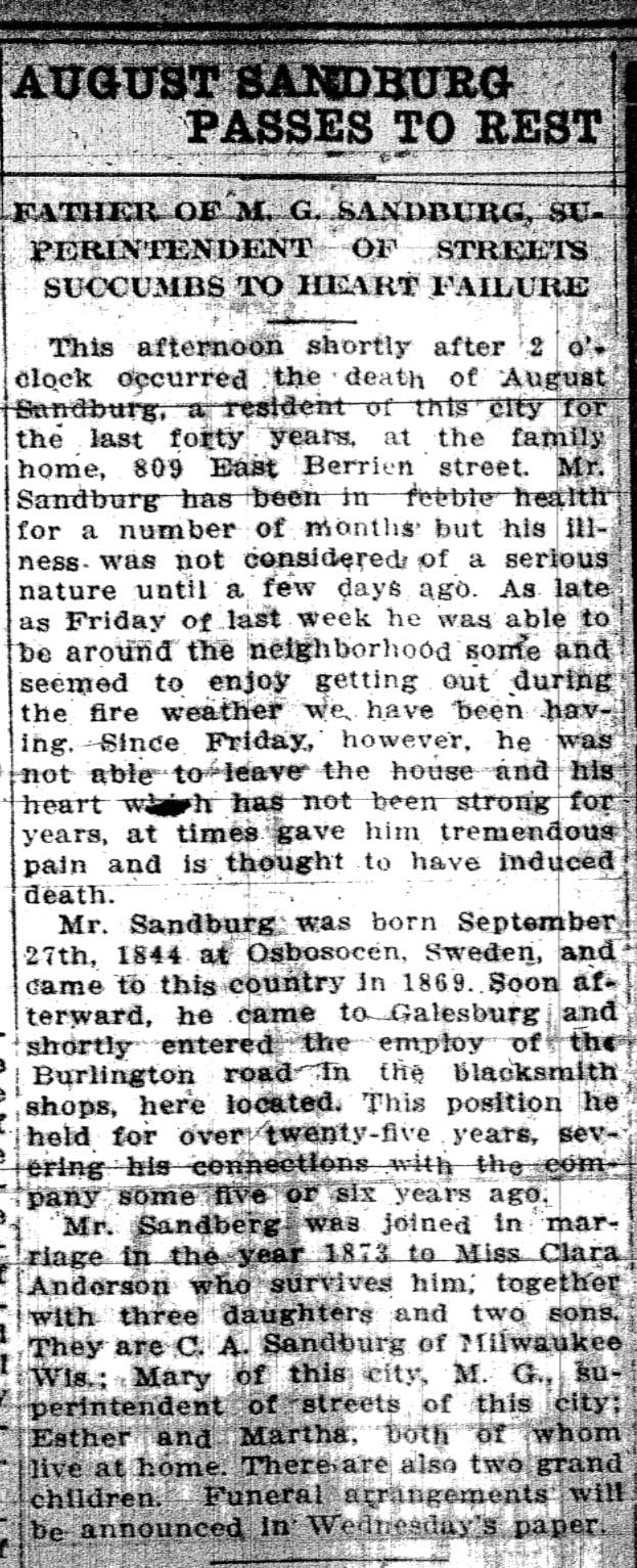 August Sandburg Obituary from the Galesburg Daily Republican Register, March 22, 1910.