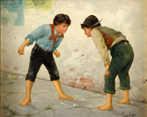 Boys Playing Dice, by Josef Suss (1867-1937, Austrian)