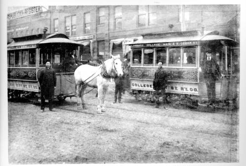 Horse-drawn streetcars in downtown Galesburg, Illinois, ca. 1885.