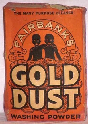 "A box of Gold Dust Washing Soap featuring the iconic ""Gold Dust Twins"", 'Goldie' and 'Dustie'"