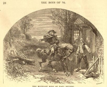 """The Midnight Ride of Paul Revere""  Illustration from THE BOYS OF '76, by Charles Carleton Coffin (1876).."