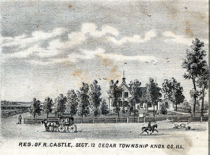 Residence of Reuben Castle, Sect 12, Cedar Township - Knox County Illinois Historical Atlas - 1870