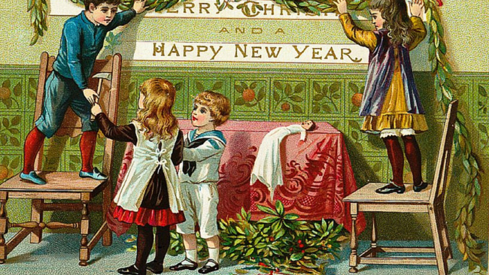 Vintage Merry Christmas & Happy New Year image