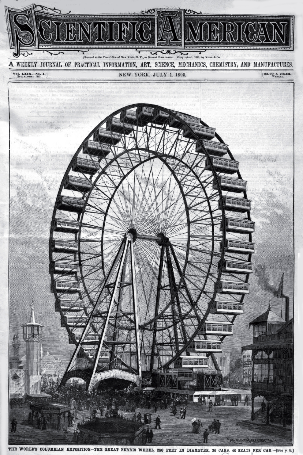 The Ferris Wheel at the 1893 Columbian Exhibition in Chicago.